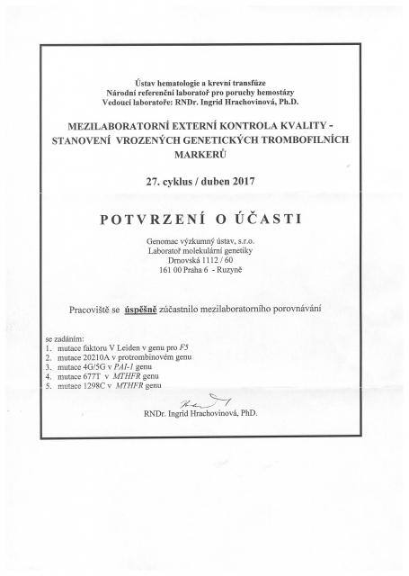Certifikaty rok 2017