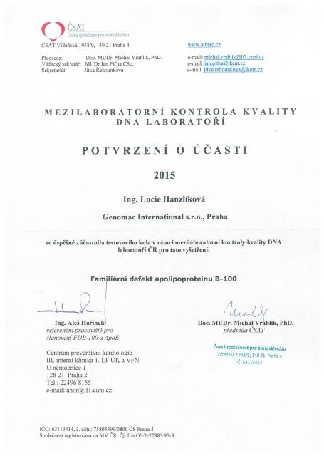 Certifikaty rok 2015