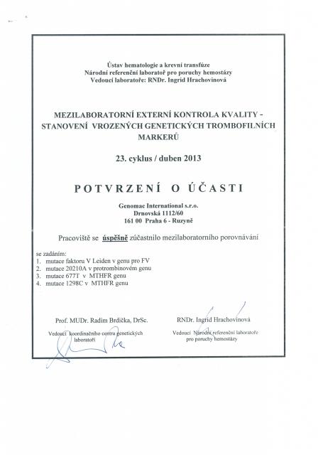 Certifikaty rok 2013